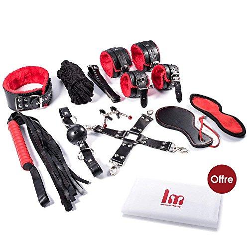 Intimate Melody® BDSM Bondage Set SM Sexspielzeug Extrem Fesselset für Paare Anfänger 10 Stück + PVC-Tasche mit Reißverschluss (Rote und Schwarz)
