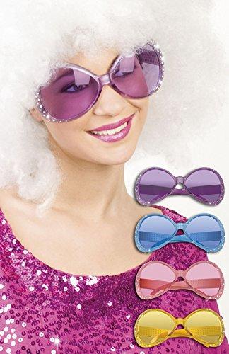 erdbeerloft - Oversize Flower Power Brille Kostüm Sonnenbrille, Violett