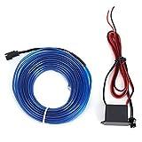 Auto Innenraumbeleuchtung Ambientebeleuchtung KFZ Ambiente Lichtleiste EL Streifen Wire 12V, mit Zigarettenanzünder Inverter, 1m/2m/3m, Orange Rot/Blau/Weiss/Cyan