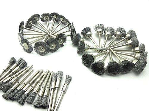 SHINA 45Stück Stahlbürste FÜR Reinigung Polieren für Zubehör Werkzeuge Dremel rotierenden 3in 1Bürste Krone Bürsten mit Ende Bürsten Schleiftopf