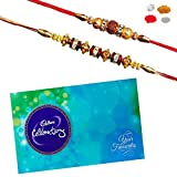 #5: Maalpani Rakhi chocolate Hamper - Pair of two Gold n Daimond Rudraksh n Fancy Bead Rakhi with Cadbury Celebration Pack 205