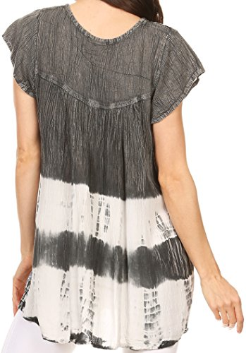 Sakkas Layleka Lange Abbindebatik Ombre Batik gestickte Pailletten Perlen-Hemd-Bluse Top Grau