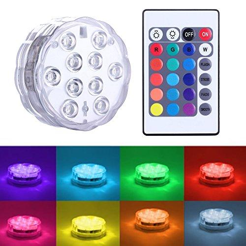 (Unterwasser LED Licht Queta 4 Wasserdichte Licht mit Fernbedienung,Ferngesteuert Batteriebetrieben Wireless Multicolor Tauch LED Leuchten für Holloween Teich, Party, Hochzeit, Vase,IP68 2 pack)