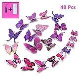 Sticker mural déco de 48 morceaux de papillons 3D avec aimant, autocollant pastel Sticker décoratif fée papillon muraux Stickers autocollants pour la décoration d'appartements (rose-violet)