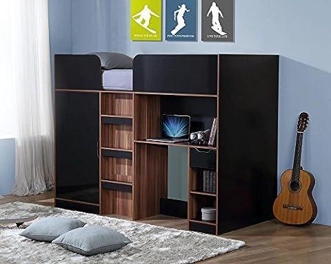 Happy Beds Paddington Black and Walnut High Sleeper Bunk Storage Bed Wardrobe Desk with Orthopaedic Mattress 3' Single 90 x 190
