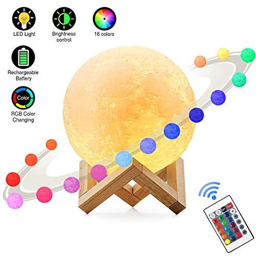 Lampe Lune Elfeland 3D Veilleuse LED Lampe de Chevet Tactile 16 Couleurs avec Câble USB, 4 Modes de Lumière, 15cm/5,9inch, Veilleuse Lune pour Bébé Enfants Chambre Amoureuse Cadeau