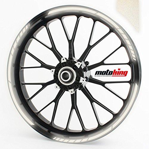 Felgenrandaufkleber GP im GP-Design passend für 12 Zoll Felgen für Motorrad, Auto & mehr - REFLEKTIEREND WEIß (Motorrad-felgen)