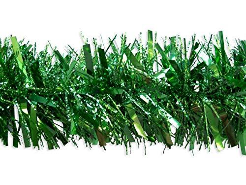 Shatchi 21506-GREEN-TINSEL - Guirnalda de espumillón para decoración de árbol de Navidad, 180 cm, color verde