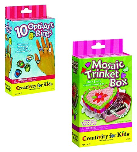 Creativity for Kids - Small Jewlery Set, Opti-Art Rings and Mosaic Trinket Box Kits