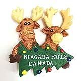 Lvedu handgefertigter und bemalter 3D Kühlschrankmagnet, kanadische Elche mit Weihnachtsbaum, Tourismus, Souvenirs, für Zuhause, Dekoration
