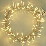 Luces de hadas 100 cálido árbol de Navidad blanco luces interiores LED luces de cadena-operado por batería-8 funciones 10 m/33 longitud iluminada con 1 m de cable de plomo