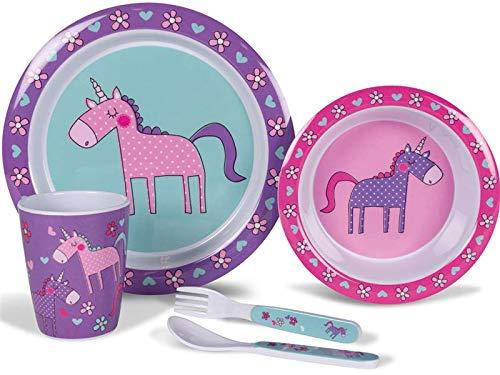 Kampa Melamin Campinggeschirr Kindergeschirr 5 teilig Einhorn pink/lila