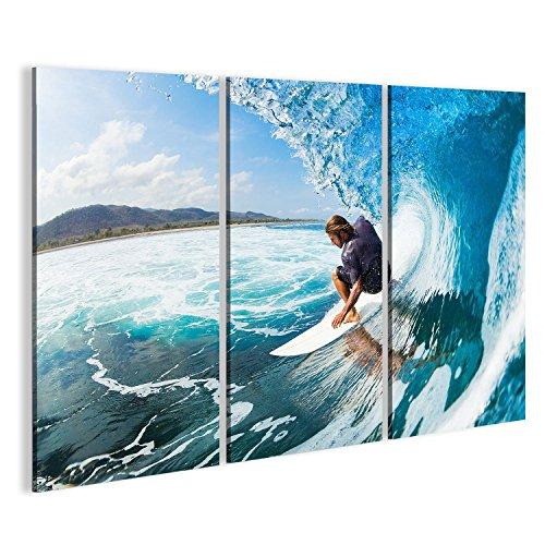 islandburner Bild Bilder auf Leinwand 3 teilig Surfer Poster, Leinwandbild, Wandbilder