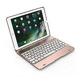 iPad 9.7 '' Custodia per Tastiera, KooKen Tastiera Wireless Bluetooth 3.0 Premio Copertura in Alluminio Protettivo Antiurto e Copertura + 1PC Pellicola in Vetro Temprato per iPad Air 1, iPad Air 2, iPad Pro 9.7 '', 2017 Nuovo iPad - D'oro immagine