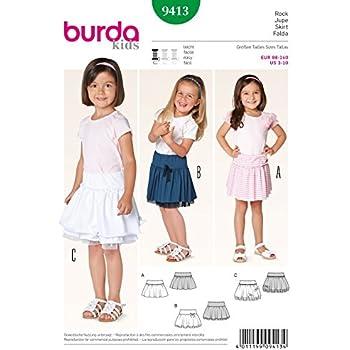 Burda Kinder Schnittmuster 9413 – Röcke mit Raffungen & Rüschen ...