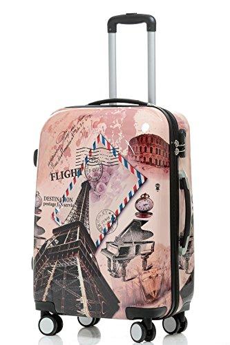 BEIBYE Reisekoffer Hartschalen Hardcase Trolley Zahlenschloss Polycarbonat SET-XL-L-M- Beutycase (Eiffel Tower, M(Handgepäck))