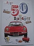 50. Geburtstagskarte Sport Stecker Auto-Design mit Einsatz vers
