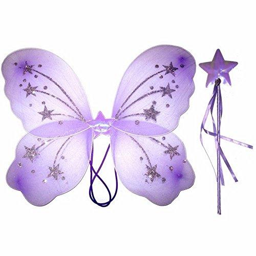 Schmetterlings-/Feenflügel für Damen/Mädchen, mit Zauberstab, Weiß, Pink, Lila, Gelb (Mädchen Für Feenflügel)