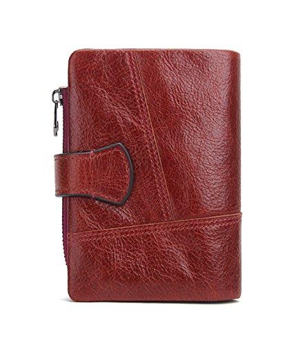 Contacts Herren Geldbörse Echtes Leder-Geschäft Bifold Trifold Mappen-Kartenhalter -Münzen-Tasche Rot Red2