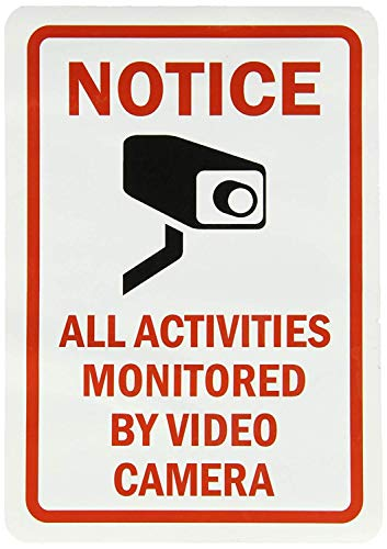 Schwarz Und Weiß-video-kamera (CHI Funny Metall Schilder feststellen, Alle Aktivitäten überwacht durch Video Kamera Schwarz Rot auf Weiß Garage Home Yard Zaun Aluminium Plaque Art Wand 18 x 25 cm)
