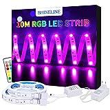 LED Strip 10M Led Streifen SHINELINE 2x5M Led Band 300 LEDs SMD 5050 RGB Led Band mit Fernbedienung 12V DC Netzteil Verbinder für Weihnachten Feiertage Küchen Bar Party Dekoration, MEHRWEG