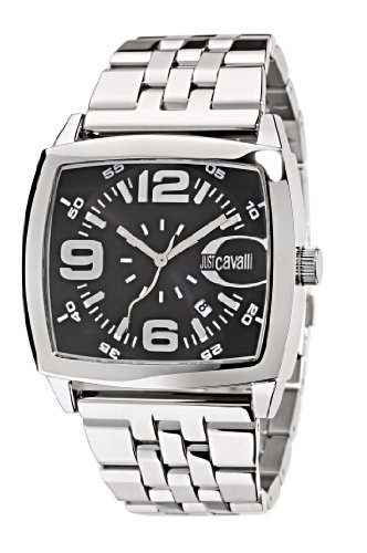 Just Cavalli Screen Men's Quartz Watch with Black Dial Analogue Display and Orange Stainless Steel Strap R7253325125