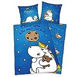 Das Pummeleinhorn Bettwäsche I Love you to the cookie and...2-tlg. Set - 80x80/135x200cm aus Baumwolle / Bettbezug blau bedruckt mit Knopfverschluss