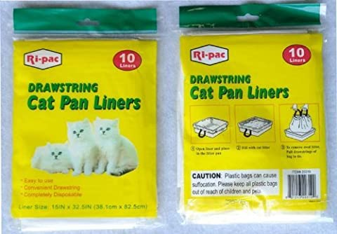 60 pieces drawstring cat pan liner for litter waste scoop