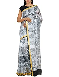 Unnati Silks Women Off White Hand Printed Pure Kota Cotton Saree With Blouse From The Weavers Of Rajasthan(UNM26517)