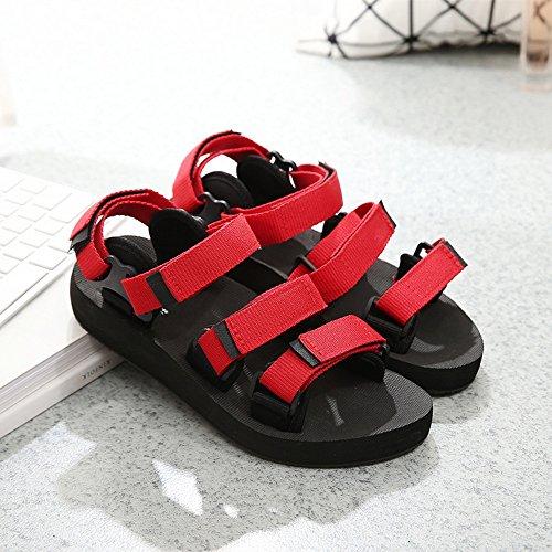 Donne sandali Nero / rosso Coppie di estate scarpe Scarpe da spiaggia per ragazzi e ragazze Confortevole ( Colore : Nero , dimensioni : 42 ) Rosso