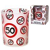 50.Geburtstag Deko Windlicht mit Verkehrszeichen 50 und mit Duftkerzenwachs gefüllt Geburtstagslicht mit Zahl 50 Jubiläumslicht mit Zahl 50
