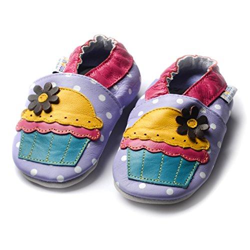 Jinwood designed by amsomo - Girls - Maedchen - Hausschuhe - Lederpuschen - Krabbelschuhe - soft sole / mini shoes div. Groeßen cupcake lilac soft sole