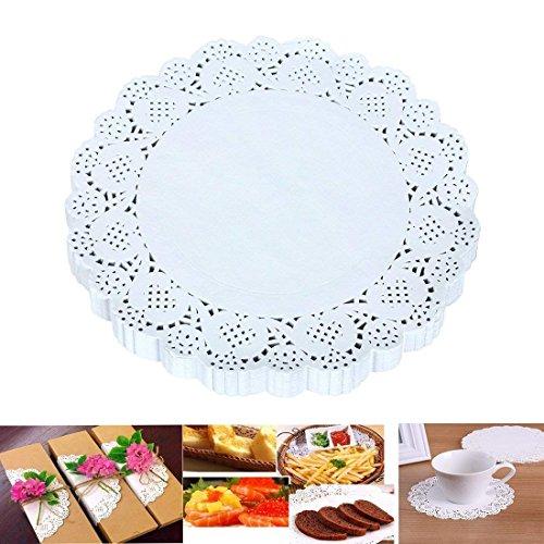 Kumkey Runde Spitze Papier Deckchen Weiß Tortenspitzen Tortenpapier Tortenserviette Einmal Zierdeckchen Papier Spitze Deckchen Kuchen Verpackung Papier Pad für Party Hochzeit Dekorationen (19cm)