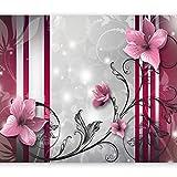 murando - Fototapete 350x256 cm - Vlies Tapete - Moderne Wanddeko - Design Tapete - Wandtapete - Wand Dekoration - Abstrakt Blumen Ornament violett braun rose rot b-A-0041-a-d