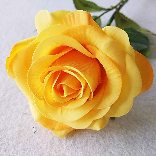 Jun7L Rosen 10 Stück Real Touch Schöne Echtes Moisturizing Curling Knospe Latex künstliche Rose Kunstblumen Blume Dekoration Blumenstrauß Blumenarrangement Gelb A 45X6.5CM (Rosen Gelbe Künstliche)