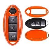 Auto Schlüssel Cover Hülle Nissan Qashqai Juke Micra Pulsar X-Trail Evalia Navra/Farbe: Orange