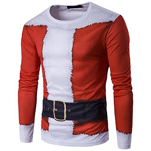 SEWORLD Weihnachten Christmas Herren Männer Herbst Winter Weihnachten Weihnachten Drucken Top Männer langärmelige T-Shirt Bluse(X1-1-rot,EU-48/CN-M)