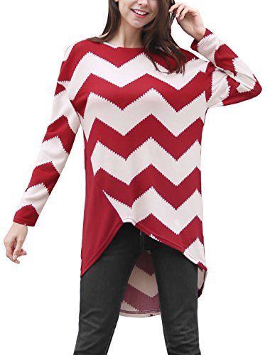 XS (US 2) , Red : Allegra K Women's Long Sleeves Chevron Print Asymmetric Hem Tunic Top