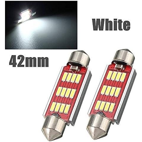 AUDEW 2x 36/39/42mm Lampadine auto C5W cupola del festone Canbus Dome Festoon 12-4014SMD LED Lampada LED porta / lettura / soffitto / Interior DC 12-24V (Bianco) 42mm
