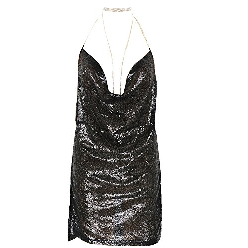 Sfit Damen Reizvolles Clubwear Kleid Rückenfrei Tief V ausschnitt Minikleid Pailletten Kurz Bodycon Kleid Neckholder mit Kendall Kette Choker (Schwarz, L) (Clubwear-kette)