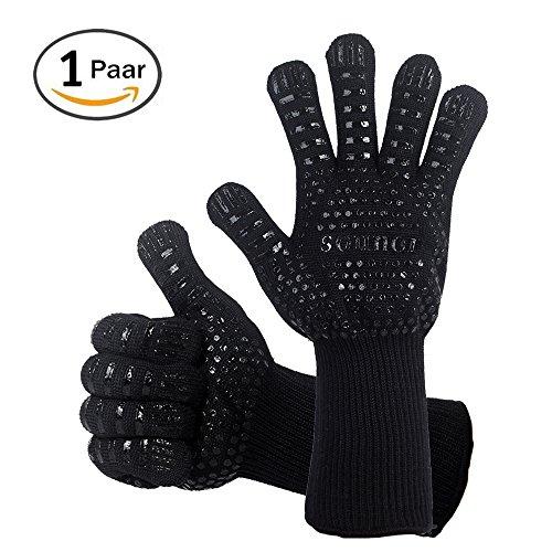 Grillhandschuhe, 1 Paar Bis 500°C Hitzebeständig EN407 Zertifizierte BBQ Handschuhe Aus Kevlar-Nomex Gewebe, Extra Lang Ofenhandschuhe, Topfhandschuhe, Backhandschuhe, von Sounor (Schwarz)