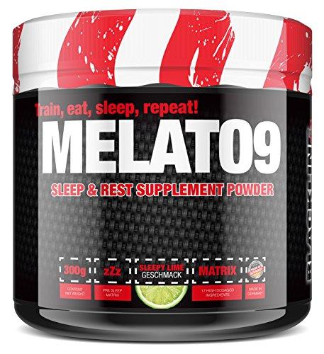 #sinob Melato9 - Relax & Sleep. Schlaf Supplement 3g Gaba, 2g Ashwaghandha, 1g L-Tryptophan, 1g Baldrianwurzelpulver, 205mg Cholin, 200mg Griffonia 5-HTP, 175mg Theanin, 150mg Ginkgo. 1 x 300g