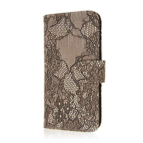 MPERO FLEX FLIP Wallet Case Hülle Tasche für Apple iPhone 6 Plus - Schwarz Lace sandfarben