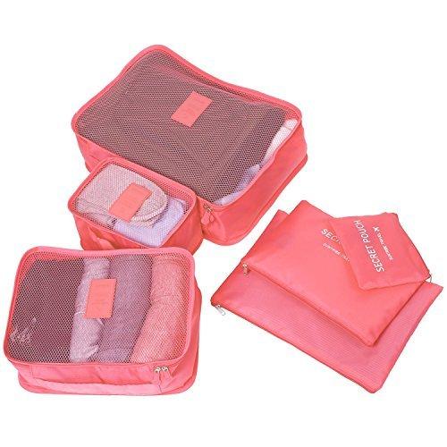 Molain 6-en-1 Set de Organizador de Equipaje, Impermeable Organizador de Maleta Bolsa para Ropa Sucia de Viaje, Material Nylon (Sandía)