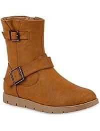 86a5c9025989 Damen Schuhe Biker Boots Gefütterte Stiefeletten Wildleder-Optik Stiefel  147849 Hellbraun 39 Flandell