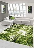 Traum Designer und Moderner Teppich Kurzflor Wohnzimmer Teppich Wald in Grün Weiss Größe 200 x 290 cm