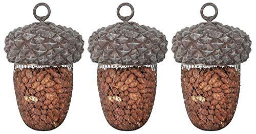 Esschert Design Futterstelle Eichel aus Polyresin und Metall, 14,0 x 14,0 x 22,2 cm, 3 Stück