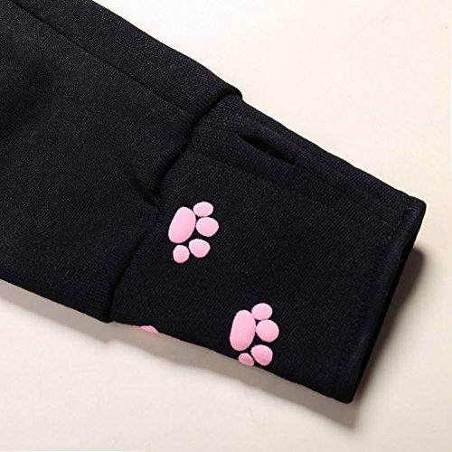 Wangyue Frauen Niedliche Känguru Tasche Hoodie Langarm Pullover Sweatshirt Schwarz01 M - 6