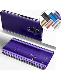 LEMAXELERS Huawei Mate 10 Lite Hülle Luxus Spiegel Mirror Makeup Plating PU Ledercase Flip Tasche Ledertasche Schutzhülle Handyhülle mit Ständer-Funktion Hülle Etui für Mate 10 Lite,Mirror PU:Purple