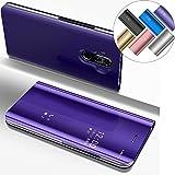 Funda Huawei Mate 9, Carcasas para Huawei Mate 9 EMAXELERS Huawei Mate 9 Funda de lujo con espejo Caja de maquillaje con marco de cuero de la PU Flip Bookstyle Funda con billetera [Pie de apoyo] Cierre magnético Funda protectora de cuerpo completo para Huawei Mate 9 Mirror PU : Purple